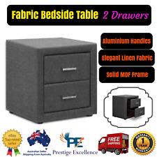 Linen Fabric Bedside Table 2 Drawers Elegant Nighstand Home Bedroom Storage Grey