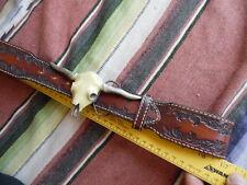 Men's The Great American Buckle Co. Longhorn Steer Skull Buckle Leather Belt 34