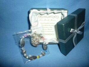 Love, Friend, Forever Silver & Crystal Expressively Yours Bracelet USA  (B611)