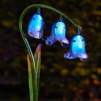 2 Pack Solar Power LED Light Up Bluebell Flower Path Stake Lights | Garden