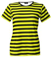 Ladies Bumble Bee Yellow & Black Stripes T-shirt Top 80's Fancy Dress Costume