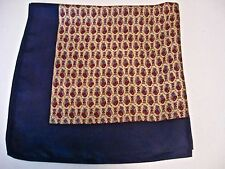 VINTAGE LIBERTY OF LONDON SILK SCARF PROVINCIAL FLORAL NAVY BLUE YELLOW RED NICE