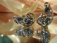 Vintage 50's Silvertone Blue AB Rhinestone Classy Showy Clip On Earrings 29jn8