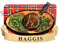 Scotland Fridge Magnet Scottish Haggis Dish and Tartan background Souvenir Gift