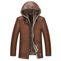 Mens Leather Jacket Fleece Lined Warm Hooded Waterproof Winter Outwear Biker New