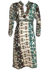 DERHY Dress Beaded Details Boho Festival Arty Hippie Brown Blue Size S UK 8