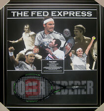 ROGER FEDERER SIGNED & FRAMED TENNIS RACQUET COMPANY COA 20 GRAND SLAMS