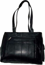 New Ladies Leather tote bag purse carry on bag Black leather shopping handbag BN
