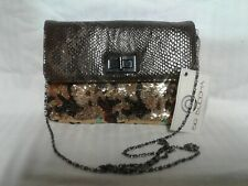 Big Buddha Brown multy color sequence  Cross/Body Bag Purse New Clutch Wallet