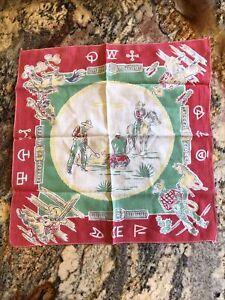 Cowboy Vintage Handkerchief - Campfire Scene, Very Good Vintage Condition