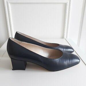 JONES Vtg Style Navy Blue Court Shoe Gold Work Career Metallic Heel Sz 6 / 39