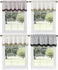 Country Farmhouse Striped Window Valance Curtain Treatments - Assorted Colors