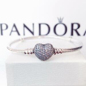 New Authentic Pandora Sterling Silver Moments Pave Heart Clasp Bracelet 590727CZ