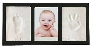 Proud Baby Clay Hand & Footprint Keepsake Photo Wall Mount Frame Kit - Black