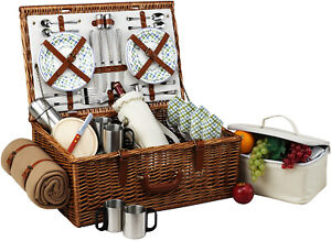 Picnic at Ascot Dorset Willow Basket for 4 w/ Coffee Set & Blanket (704BC)