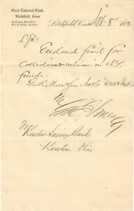 First National Bank of Litchfield CONN Ch# 709 1882 cashier's collection