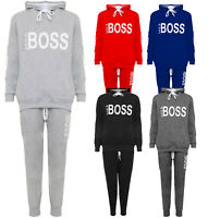 Womens Like Boss Print Hood Sweatshirt Top Jogging Bottoms Loungewear Tracksuit