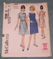 "VINTAGE 1964 McCall's #7229 Sz 14 1/2 Women's Dress ""Easy to Sew"""