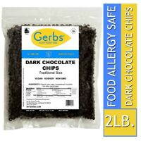 Traditional Dark Chocolate Chips, 2 LBS Food Allergy Safe & Non GMO by Gerbs