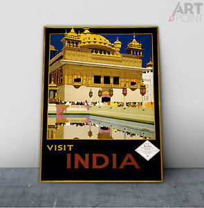Vintage Art Deco Style India Travel Poster Framed Canvas or Unframed Art Print