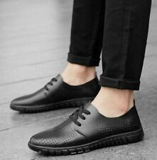 European Men's Genuine Leather Oxfords Breathable Casual Shoes Lace-up Loafers