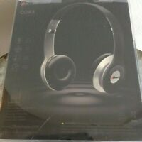 """2Boom """"CORE"""" Stereo Headphones Inline Remote Microphone Black / Silver Folding"""