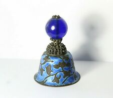 Antique c. 1900 Chinese Enamel Bell with Cobalt Blue Peking Glass Finial