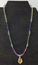 Beautiful 925 Pastel Crystal Bead Necklace With Tear Drop Crystal Pendant