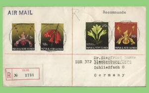 Papua New Guinea 1971 Flowers on registered 'Tufi' cover to Germany