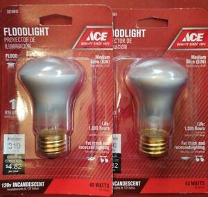 Lot of 2 - ACE Hardware 40 Watt Floodlight - 310 Lumens - R26 - Med. Base (E26)