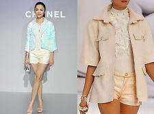 FABULOUS RUNWAY 12P CHANEL CC LOGO COATED PEARL PINK SHORTS 38