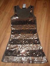 brown sequin tank top ~ 100% cotton ribbed ~  XS small