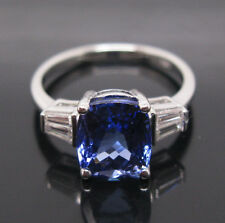 SOLID 18K WHITE GOLD STUNNING BLUE TANZANITE ENGAGEMENT DIAMOND WEDDING RING