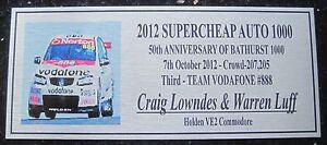 2012 Bathurst  Craig Lowndes & Warren Luff 140x60mm F/Postage