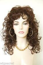 Dark Auburn Red Long Medium Curly Wigs