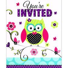 BRIGHT POLKA DOT OWL INVITATIONS (8) ~ Birthday Party Supplies Stationery Cards
