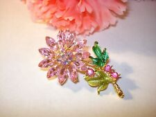 Pink Crystal AB Rhinestone Enamel Floral Brooch Pin New