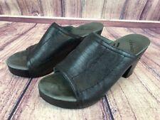 d68 Dankso Randi Womens 40 / 9.5- 10 Black Leather Slide Sandal Open Toe Heels