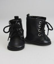 "Cute Black High Top Boots with Laces Fits American Girl Boy Doll Logan 18"" Dolls"