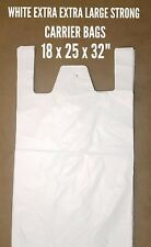 """WHITE EXTRA EXTRA LARGE CARRIER BAGS (500x BAGS) 18""""x25""""x32"""""""