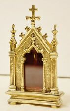 """4 3/4""""  BRASS GOTHIC RELIQUARY FOR YOUR RELIC - #7 - (CHURCH, RELIGIOUS, CANDLE)"""
