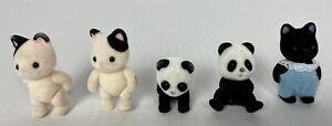 Calico Critters Sylvanian Tuxedo Baby Kittens Cat Set of 3 One Black & 2 Pandas