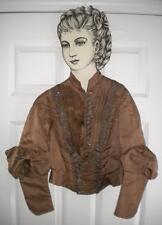 Antique Vtg Victorian Edwardian Waist Jacket Beaded Bodice Sateen Silk Boned