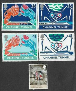 The Channel Tunnel Great Britain mnh set + single