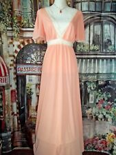 Vintage GOSSARD ARTEMIS PEACH  Full length Nylon Gown   Size Small   excellent