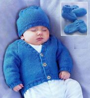 (827) Baby Child Cardigan Hat Bootees Mitts Knitting Pattern, Easy Knit, 16-26''