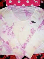 NEW VICTORIA'S SECRET PINK GIRLFRIEND CROPPED LONG TEE SHIRT FLORAL LARGE L