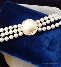 """QVC Simulated Pearl 3 Strand 26"""" Necklaces Pretty Pendant Clasp ESTATE"""