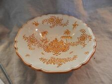 "Vintage Faenza Italy Yellow and White Serving Bowl 10"" Ceramic"