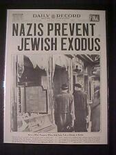 VINTAGE NEWSPAPER HEADLINE ~WORLD WAR 2 NAZI MOBS BATTLE JEWISH BERLIN JEWS WWII